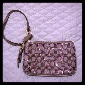 Coach Grey Sequin Wristlet
